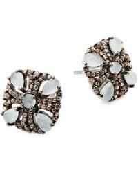 Bavna - Champagne Diamond, Aquamarine And Sterling Silver Stud Earrings - Lyst