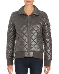 French Connection - Quilted Zip-front Coat - Lyst