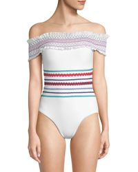 Red Carter - One-piece Smocked Swimsuit - Lyst