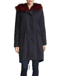 Pure Navy - Fox Fur-trimmed Cotton Down Parka - Lyst