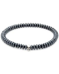 Saks Fifth Avenue - Hematite Skull Beaded Bracelet - Lyst
