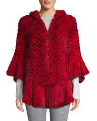 Belle Fare Mink Fur Front-zip Poncho