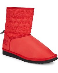 Love Moschino - Faux Fur-lined Embroidered Booties - Lyst