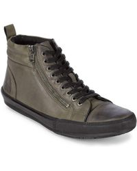 John Varvatos - Zippered Leather Trainers - Lyst