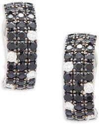 Roberto Coin - Diamond, Black Sapphire And 18k White Gold Stud Earrings - Lyst