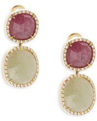 Marco Bicego - Sapphire, Diamond & 18k Yellow Gold Double Drop Earrings - Lyst