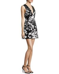 Alice + Olivia - Patty Floral-print Satin Lantern Dress - Lyst