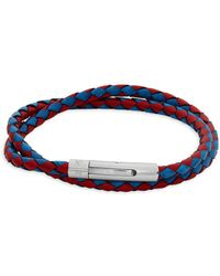 Tateossian - Braided Leather Wraparound Bracelet - Lyst