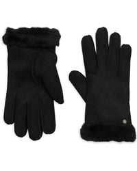 UGG - Leather Shearling Gloves - Lyst