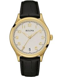 Bulova - Men's Classic Goldtone Leather Strap Watch - Lyst