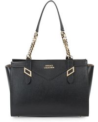 Versace - Top Zip Leather Tote - Lyst
