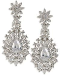 Saks Fifth Avenue - Rhodium Drop Earrings - Lyst