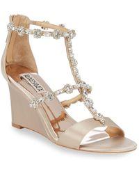 Badgley Mischka - Bejewled Metallic Sandals - Lyst
