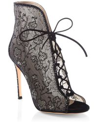 Gianvito Rossi - Crystal Mesh Lace-up Booties - Lyst
