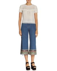 Alice + Olivia - Embroidered Cropped Jeans - Lyst