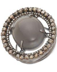 Bavna - Grey Moonstone & Diamond Cocktail Ring - Lyst