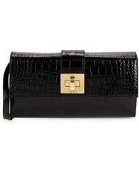 Valentino By Mario Valentino - Crocodile Embossed Leather Clutch - Lyst
