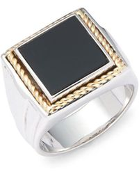 Effy - Onyx, Twisted 18k Yellow Gold & 925 Sterling Silver Ring - Lyst