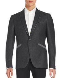 John Varvatos - Textured One-button Virgin Wool Blazer - Lyst