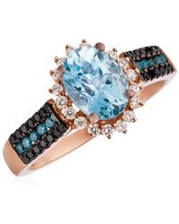 Le Vian - 14k Strawberry Gold, Diamond & Sea Blue Aquamarine Ring - Lyst