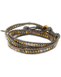 Chan Luu - Titanium Pyrite Stones, Grey Botswana Agate, Leather & Sterling Silver Bracelet - Lyst