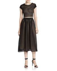 ABS By Allen Schwartz - Striped Mesh Cap-sleeve Cropped Top - Lyst