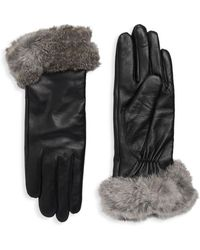 Surell - Dyed Rabbit Fur-trimmed Leather Gloves - Lyst