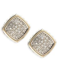 Effy - Diamond, 18k Yellow Gold And Sterling Silver Stud Earrings, 0.21 Tcw - Lyst