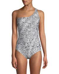 db5f0472d6c76 Calvin Klein Snakeskin-print Bralette Bikini Top in Blue - Lyst
