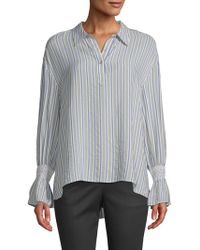 Laundry by Shelli Segal - Smocked Cuff Stripe Blouse - Lyst