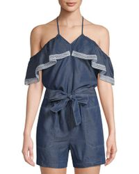 Laundry by Shelli Segal - Chambray Cold-shoulder Romper - Lyst