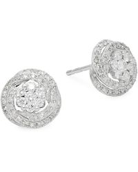 Effy - 14k White Gold Diamond Floral Stud Earrings - Lyst