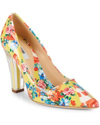Moschino - Transparent Heel Floral Leather Court Shoes - Lyst