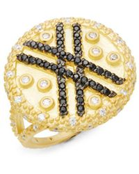 Freida Rothman - Pave Stripe Crystal And Sterling Silver Ring - Lyst