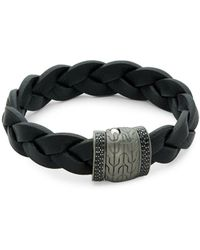 John Hardy - Black Sapphire, Sterling Silver And Leather Classic Chain Bracelet - Lyst