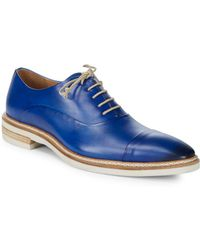 Mezlan - Almond Toe Leather Oxfords - Lyst