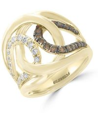 Effy - Final Call Diamond, Espresso Diamond And 14k Yellow Gold Ring - Lyst