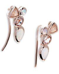Saks Fifth Avenue - Opal, Morganite, And Peach Moonstone 14k Rose Gold Cluster Earrings - Lyst