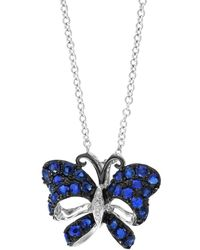 Effy - Royale Bleu Sapphire, Diamond And 14k White Gold Butterfly Pendant Necklace - Lyst