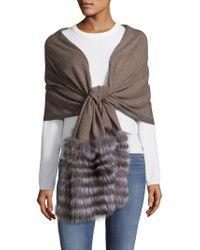 La Fiorentina - Fox Fur-trimmed Wool & Cashmere Scarf - Lyst