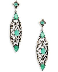 Bavna - Emerald, Champagne Diamond And Sterling Silver Drop Earrings - Lyst