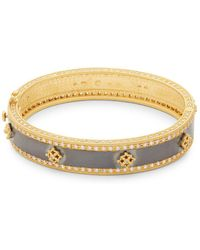 Freida Rothman - Crystal, Sterling Silver And 14k Yellow Gold Bangle Bracelet - Lyst