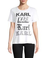 Karl Lagerfeld - Newspaper Cotton-blend Graphic Tee - Lyst
