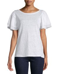 Laundry by Shelli Segal - Boatneck Linen Blouse - Lyst