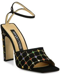 Sergio Rossi - Jeweled Suede Ankle-strap Sandals - Lyst