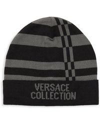 5a471dda500 Black And Silver Logo Applique Cap.  90. SSENSE · Versace - Striped Logo  Beanie - Lyst