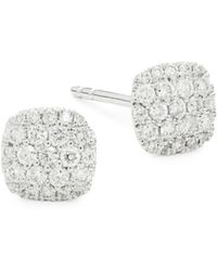 Saks Fifth Avenue - Diamond And 14k White Gold Square Stud Earrings - Lyst