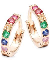 Danni - 14k Yellow Gold & Multicolor Sapphire Huggie Earrings - Lyst