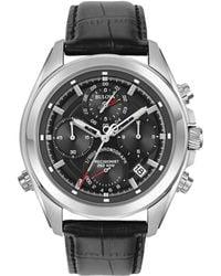 Bulova - Precisionist Round Leather Strap Watch - Lyst