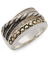 Effy - Sterling Silver, 18k Yellow Gold Diamond & Black Diamond Ring - Lyst